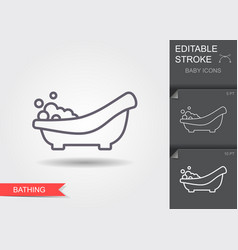 Baby bath with foam line icon with editable vector
