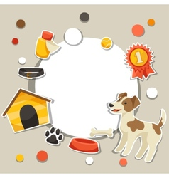 Background with cute sticker dog icons and objects vector image