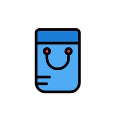 Bag handbag school flat color icon icon banner vector