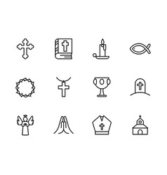 basic rgbsimple set symbols religion and church vector image
