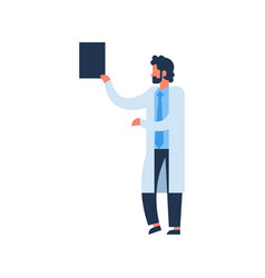 beard man hold clipboard medical doctor profile vector image