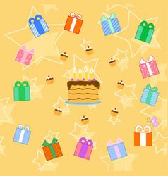 birthday cake seamless pattern vector image