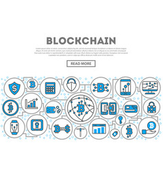 blockchain network linear style infographics vector image