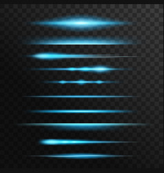 Blue and neon light flashes glow lines vector