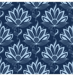 Blue persian paisley seamless floral pattern vector image