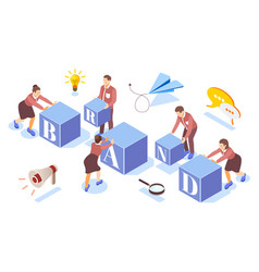 Brand building isometric composition vector