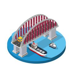 Bridge urban infrastructure is isometric vector