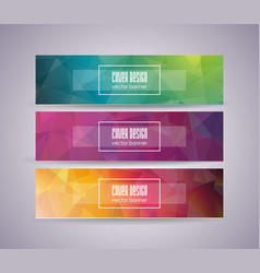 bright banner set with abstract polygonal design vector image