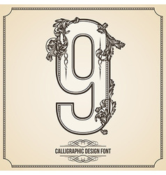 Calligraphic font number 9 vector