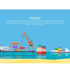 Cargo ship containers shipping vector
