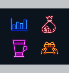 Cash latte and report diagram icons give present vector