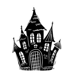 Castle black and white hand drawn vector