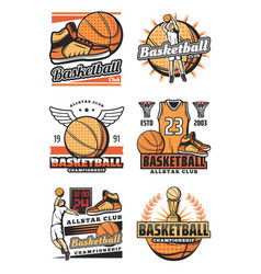 championship cup and ball on basketball icons vector image
