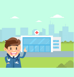 cheerful doctor standing in front hospital vector image