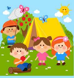 children playing in a forest camping site vector image