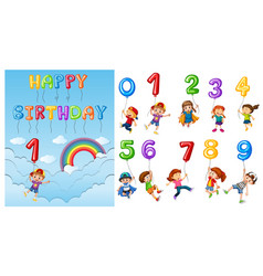 children with numbers and balloons vector image