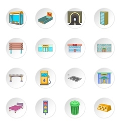 City infrastructure icons set vector