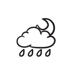 Cloud with rain and moon sketch icon vector