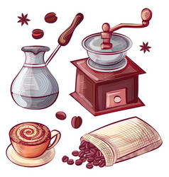Coffee pot and grinder cup and bag with beans vector