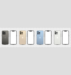 Collection of iphone 13 pro in four colors vector