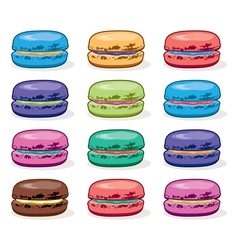 Colorful macarons vector