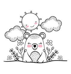 Cute bear with happy sun and plants vector