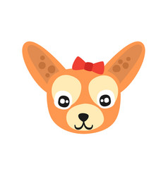 Cute chihuahua dog head funny cartoon animal vector