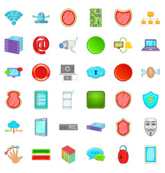 Cyber protection icons set cartoon style vector