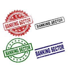 damaged textured banking sector seal stamps vector image