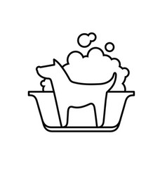 dog wash icon line silhouette a dog in a bath vector image
