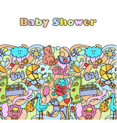 Doodle baby shower mock up vector