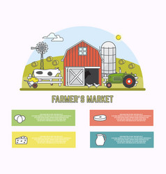 farmers market in linear style vector image