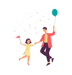 father with daughter dancing on family party vector image