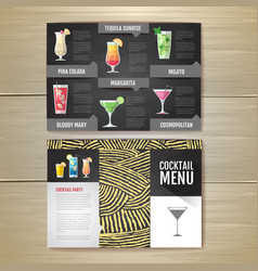 Flat cocktail menu concept design vector