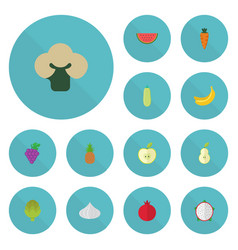 Flat icons cluster jonagold pumpkin and other vector