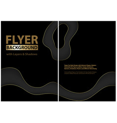 flyer design with black layers and golden edges vector image