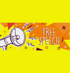 free speech banner with colorful megaphone vector image