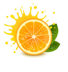 fresh orange with a splash of juice vector image