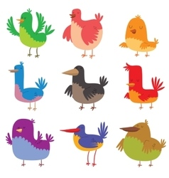 Funny birds doodle cartoon collection wing animal vector