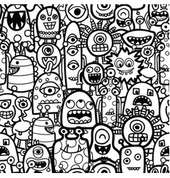 funny monsters and aliens seamless pattern vector image
