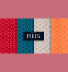 Geometric triangle patterns set and four colors vector