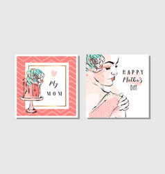 hand drawn abstract greeting cards set with vector image