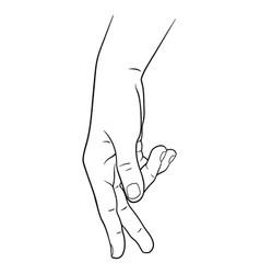 Hand drawn male hand in walk gesture print design vector