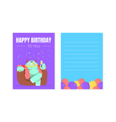 happy birthday greeting card with funny colorful vector image