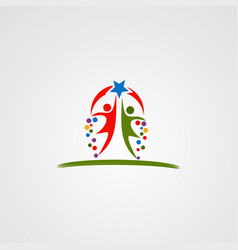 Happy moment kid logo icon element and template vector