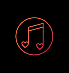 heart music note outline colorful icon or vector image
