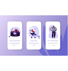 hockey players on ice rink mobile app page onboard vector image