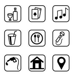 Hotel services icons set on white background vector