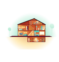 House cross section rooms plan cartoon vector