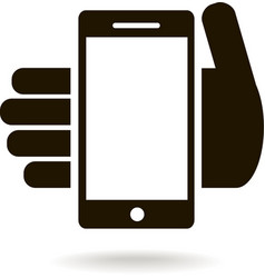Icon of mobile phone in hand vector